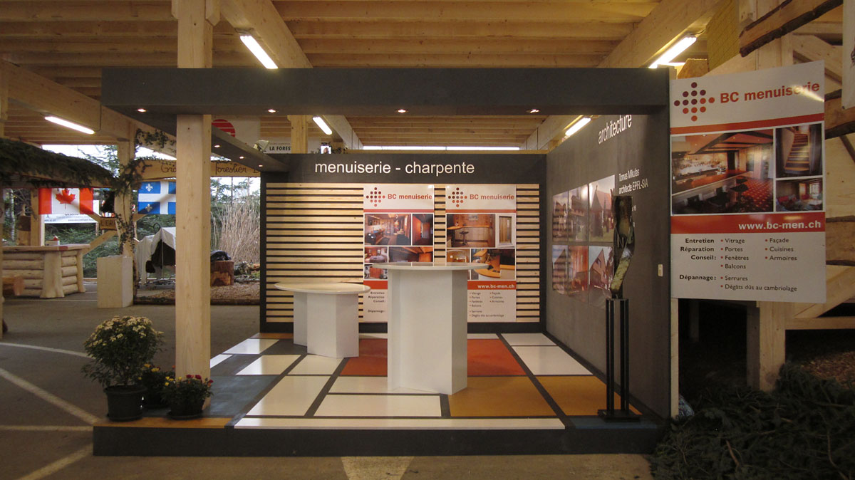 Stand comptoir oron for Menuiserie stand exposition