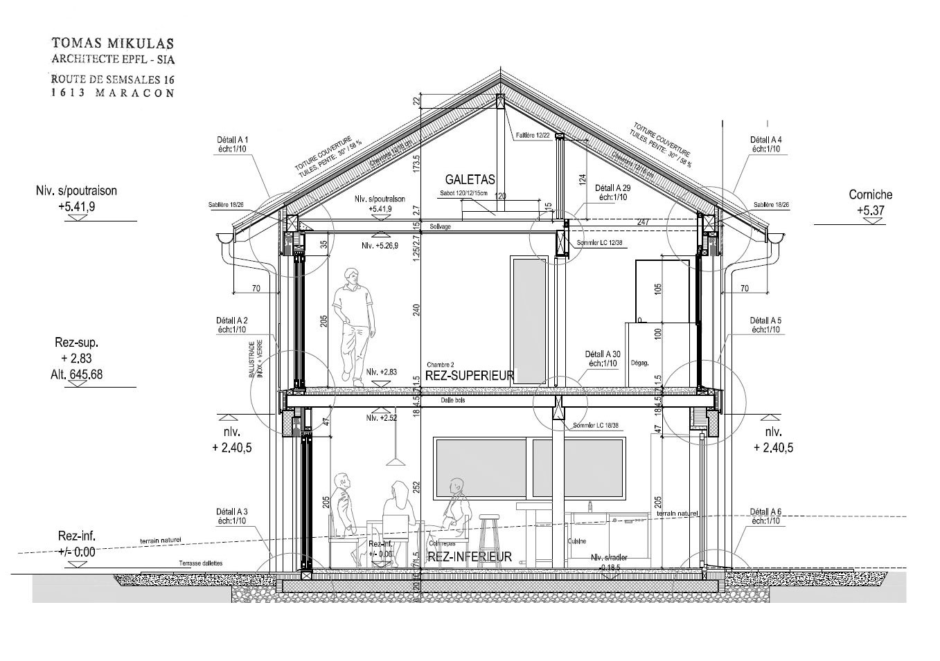 Architecte maison bois for Plan maison coupe